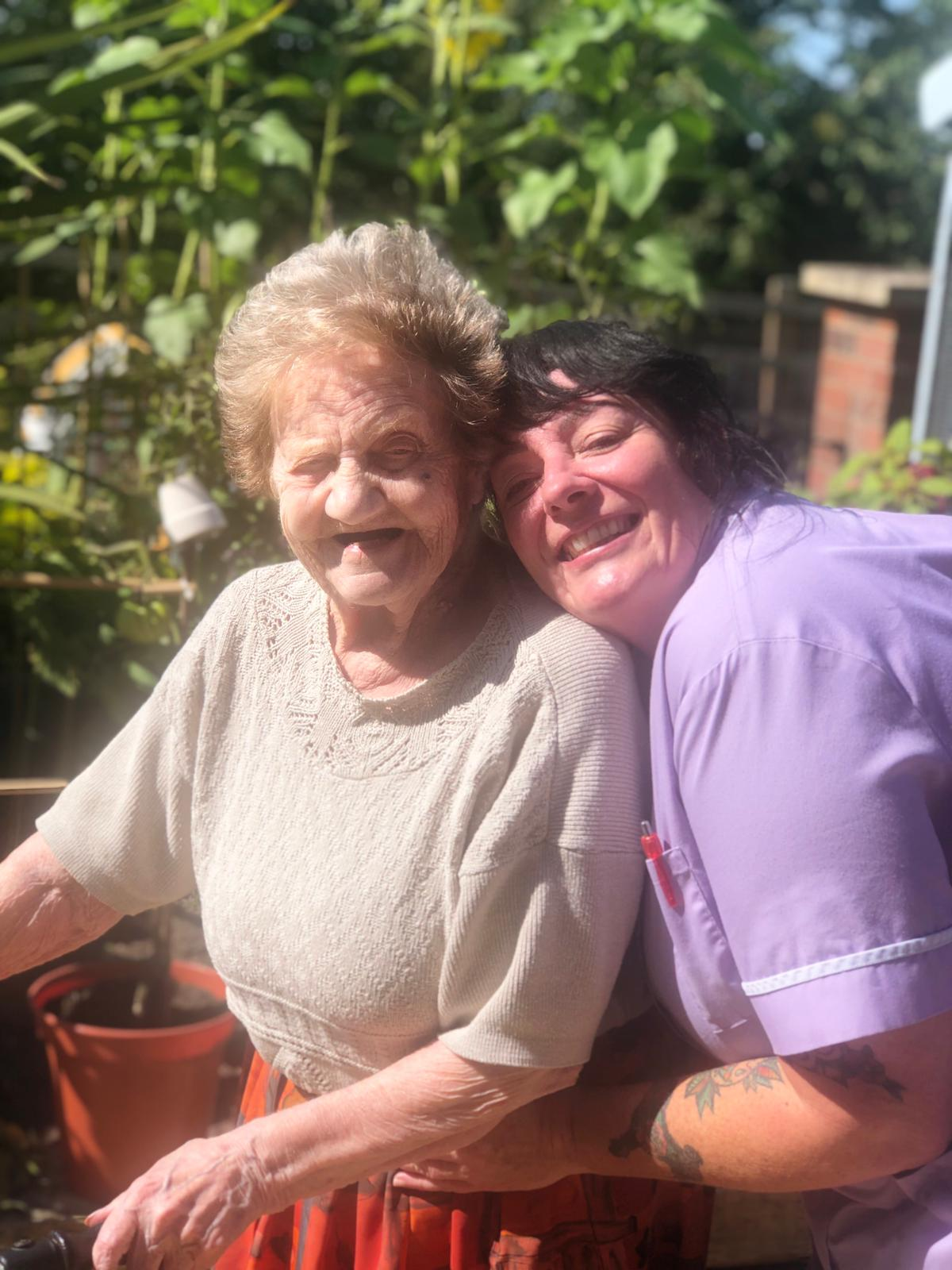 Diane and Doreen enjoying the Sun in the Garden