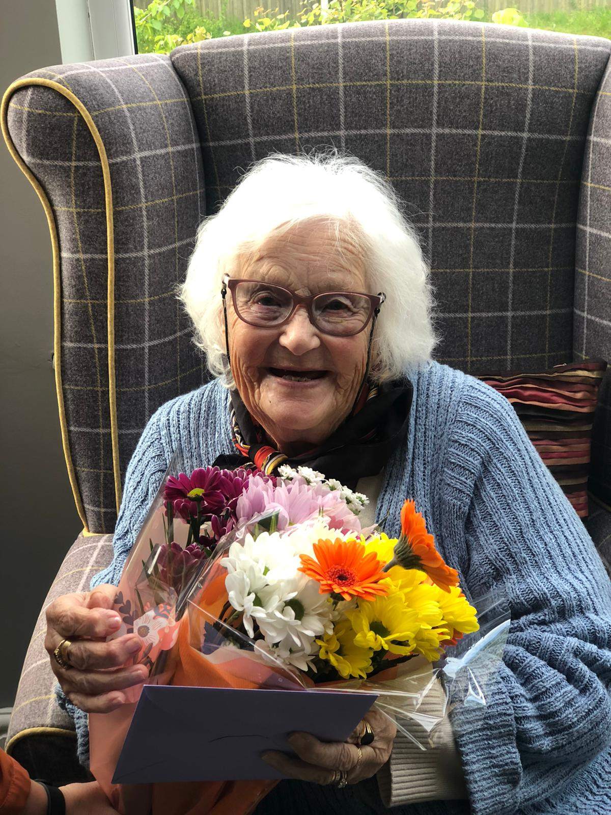 Margaret with her birthday flowers