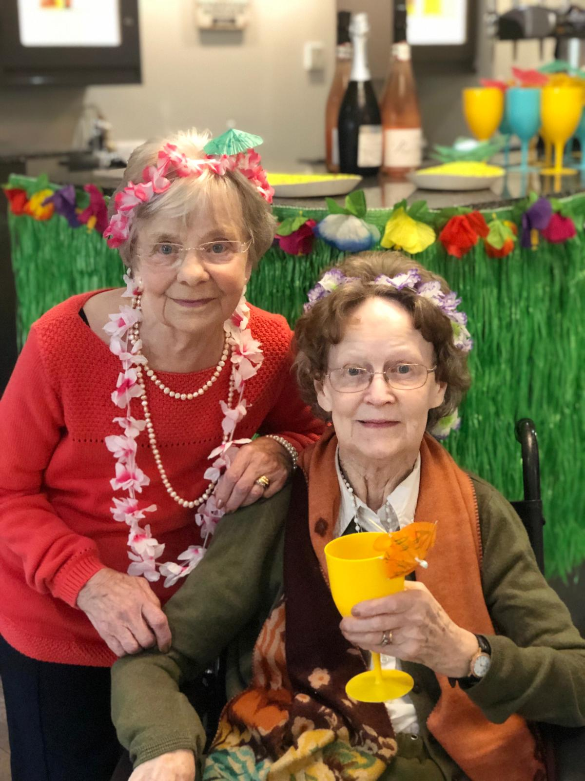 Nellie and Mary at the Hawaiian Party
